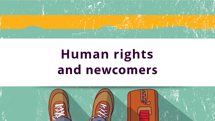 Cover photo. Links to eLearning on Human Rights and Newcomers
