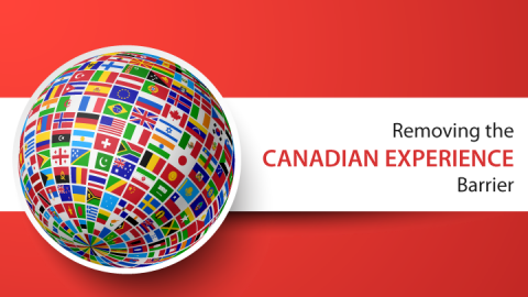 """Cover photo. Links to Removing the """"Canadian experience"""" barrier"""